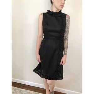 Vintage 60's/70's Black, Ruffled, Summer Dress.